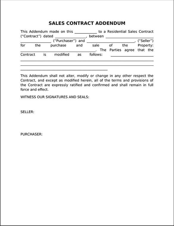 Sales Contract Addendum